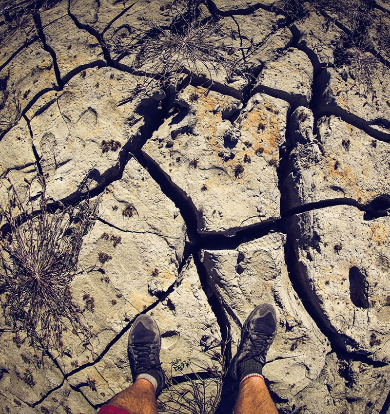large cracks on rock