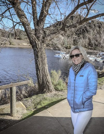 Lisa Wassberg near a lake