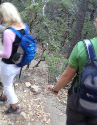 Burred image of women hiking