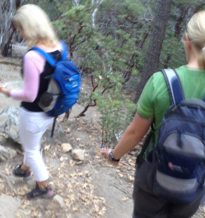 Burred image of women hiking