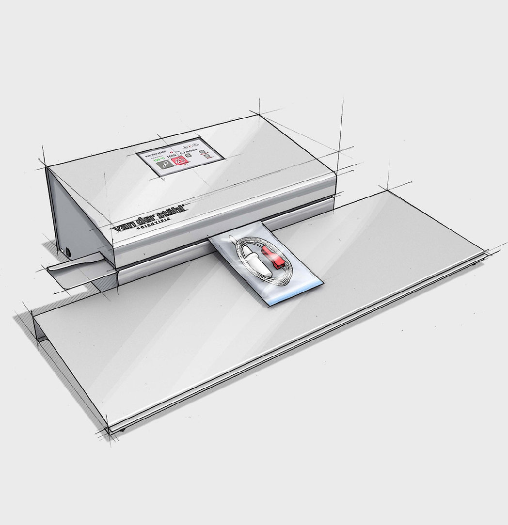 md 4000 medical device packaging sealer sketch with tray